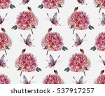 watercolor flowers seamless... | Shutterstock . vector #537917257
