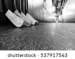 hockey stick blades laid on a... | Shutterstock . vector #537917563