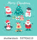 Christmas set with Santa Claus, snowman, reindeer, penguin and a Christmas tree. Vector illustration.