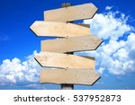 signpost with 5 arrows | Shutterstock . vector #537952873