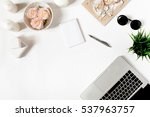 modern frame with laptop...   Shutterstock . vector #537963757