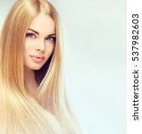 beautiful blonde woman with... | Shutterstock . vector #537982603