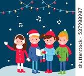 children singing carols on... | Shutterstock .eps vector #537988987