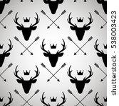 seamless pattern with deer... | Shutterstock .eps vector #538003423