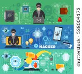 hacker abducts passwords and... | Shutterstock .eps vector #538004173