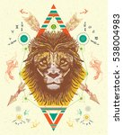 lion totem tattoo  crossed... | Shutterstock .eps vector #538004983