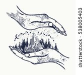 mountains in hands  tattoo.... | Shutterstock .eps vector #538005403