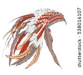 native american feathered... | Shutterstock .eps vector #538016107