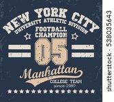new york football typography ... | Shutterstock . vector #538035643