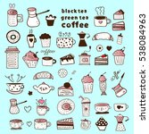 tea  coffee and desserts | Shutterstock .eps vector #538084963
