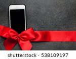 white smartphone with red... | Shutterstock . vector #538109197