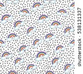 seamless pattern with rainbow...   Shutterstock .eps vector #538131337