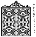 black metal gate with forged... | Shutterstock .eps vector #538132117