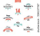 valentine's day set of symbols... | Shutterstock .eps vector #538137787
