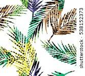 trendy seamless exotic pattern... | Shutterstock .eps vector #538152373