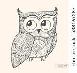 owl isolated. cute boho pattern ... | Shutterstock .eps vector #538169287