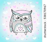 cute owl bird  heart pattern.... | Shutterstock .eps vector #538170967