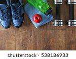fitness equipment on wooden... | Shutterstock . vector #538186933