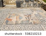 Small photo of A mosaic painting depicting Diana surprised by Actaeon while bathing, in House of Venus, ancient Roman city of Volubilis, a Unesco World Heritage site, Morocco.