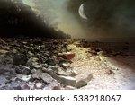 walk under old moon. romantic... | Shutterstock . vector #538218067