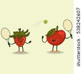 cute apple and strawberry... | Shutterstock .eps vector #538242607