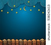 homes and moon with stars from... | Shutterstock . vector #538242613