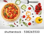 delicious pizza with... | Shutterstock . vector #538265533
