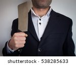 kitchen knife on businessman... | Shutterstock . vector #538285633