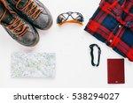 outdoor adventurer equipment... | Shutterstock . vector #538294027