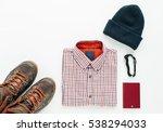 outdoor traveler equipment....   Shutterstock . vector #538294033