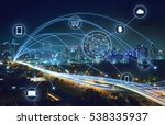 city scape and network... | Shutterstock . vector #538335937