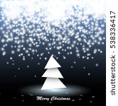 paper christmas tree with lights | Shutterstock . vector #538336417
