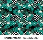 turquoise tropical leaves and... | Shutterstock .eps vector #538339807