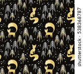 fox in winter pine forest.... | Shutterstock .eps vector #538368787