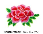Stock photo embroidery flower isolate on a white background 538412797