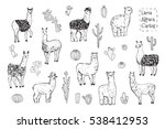 lama animal vector set | Shutterstock .eps vector #538412953