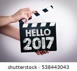 hello 2017. female hands... | Shutterstock . vector #538443043