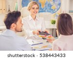 couple visiting travel agency ... | Shutterstock . vector #538443433