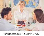 couple visiting travel agency ... | Shutterstock . vector #538448737