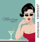 Beautiful Woman With Martini...