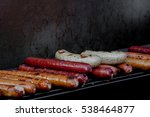 delicious fried sausages on the ... | Shutterstock . vector #538464877