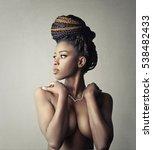 portrait of a naked black girl  | Shutterstock . vector #538482433