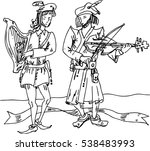 medieval musicians with ribbon... | Shutterstock .eps vector #538483993