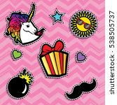 pop art fashion chic patches ... | Shutterstock .eps vector #538505737