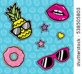 pop art fashion chic patches ... | Shutterstock .eps vector #538505803