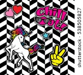pop art fashion chic patches ...   Shutterstock .eps vector #538505827
