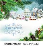 evening city winter landscape...   Shutterstock .eps vector #538544833