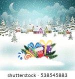 Village Winter Landscape With...