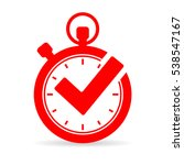 Tick Timer Vector Icon On Whit...