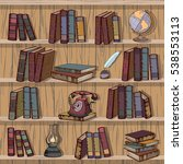 vintage books library   vector... | Shutterstock .eps vector #538553113